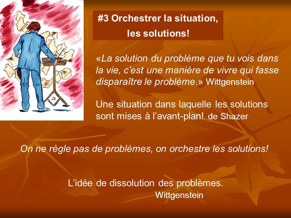 «La solution du problème que tu vois dans la vie, cest une manière de vivre qui fasse disparaître le problème.» Wittgenstein Lidée de dissolution des problèmes.