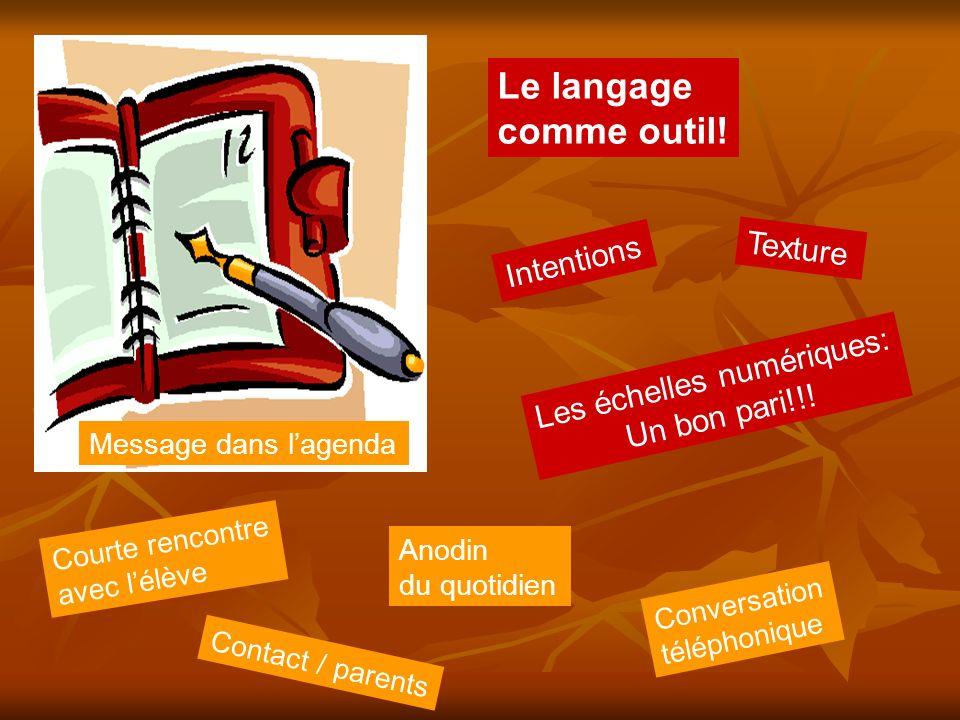 Le langage comme outil! Message dans lagenda Intentions Courte rencontre avec lélève Texture Contact / parents Les échelles numériques: Un bon pari!!!