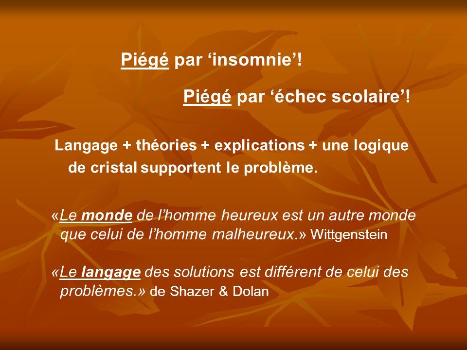 «Le monde de lhomme heureux est un autre monde que celui de lhomme malheureux.» Wittgenstein «Le langage des solutions est différent de celui des problèmes.» de Shazer & Dolan Piégé par insomnie.