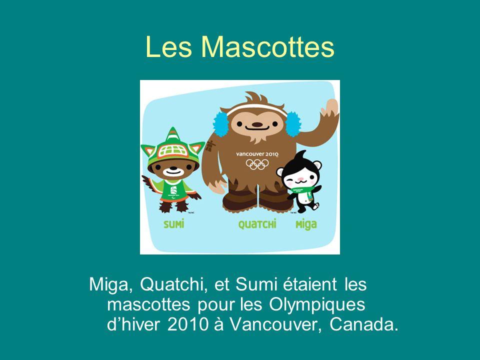 Les Mascottes Miga, Quatchi, et Sumi étaient les mascottes pour les Olympiques dhiver 2010 à Vancouver, Canada.