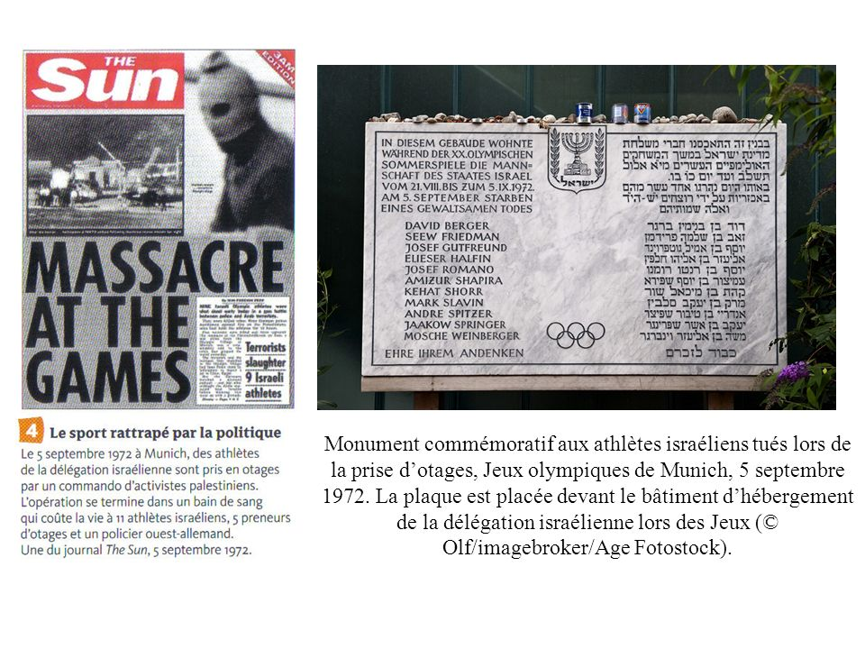 Monument commémoratif aux athlètes israéliens tués lors de la prise dotages, Jeux olympiques de Munich, 5 septembre 1972. La plaque est placée devant