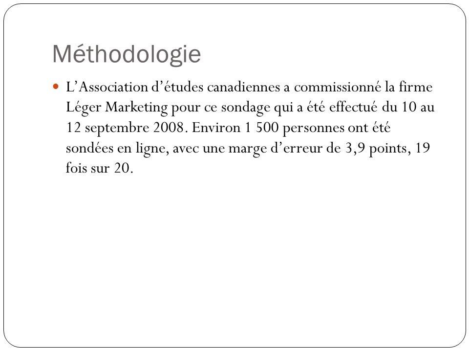Méthodologie LAssociation détudes canadiennes a commissionné la firme Léger Marketing pour ce sondage qui a été effectué du 10 au 12 septembre 2008.