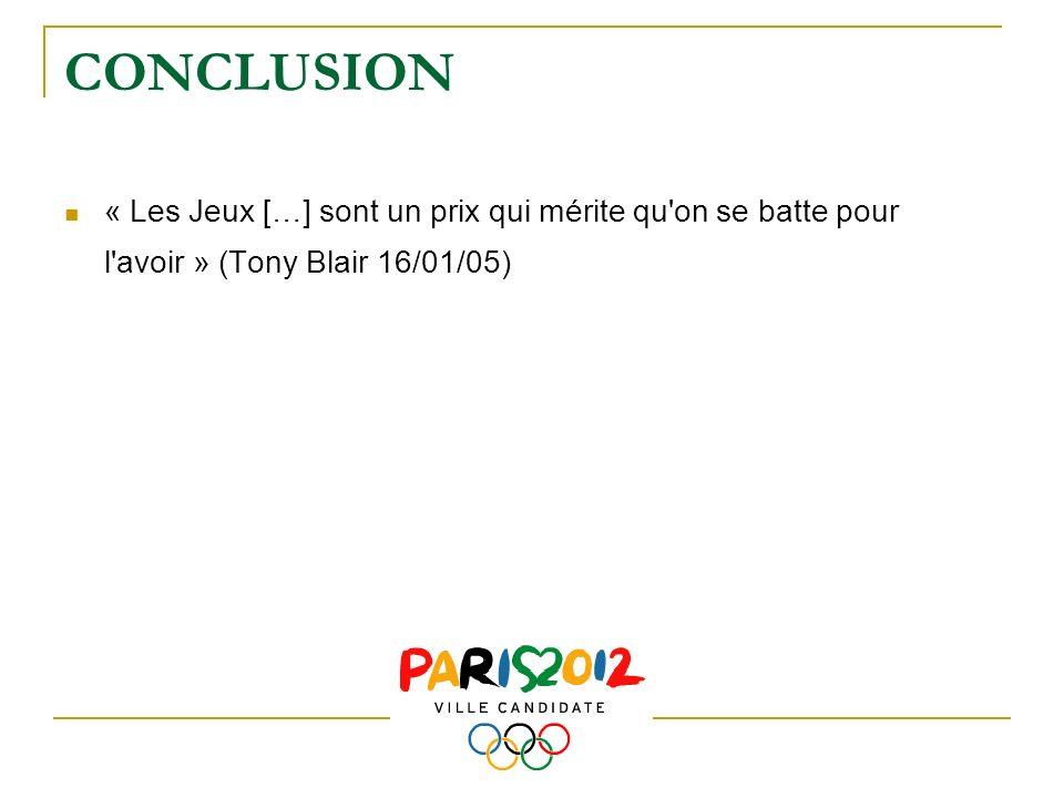 CONCLUSION « Les Jeux […] sont un prix qui mérite qu'on se batte pour l'avoir » (Tony Blair 16/01/05)