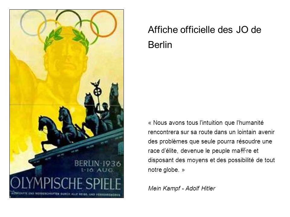 LOlympisme version nationale socialiste Personne ne pouvait pr é voir les changements politiques qui allaient survenir en Allemagne quand le CIO confia à Berlin l organisation des jeux en 1931.
