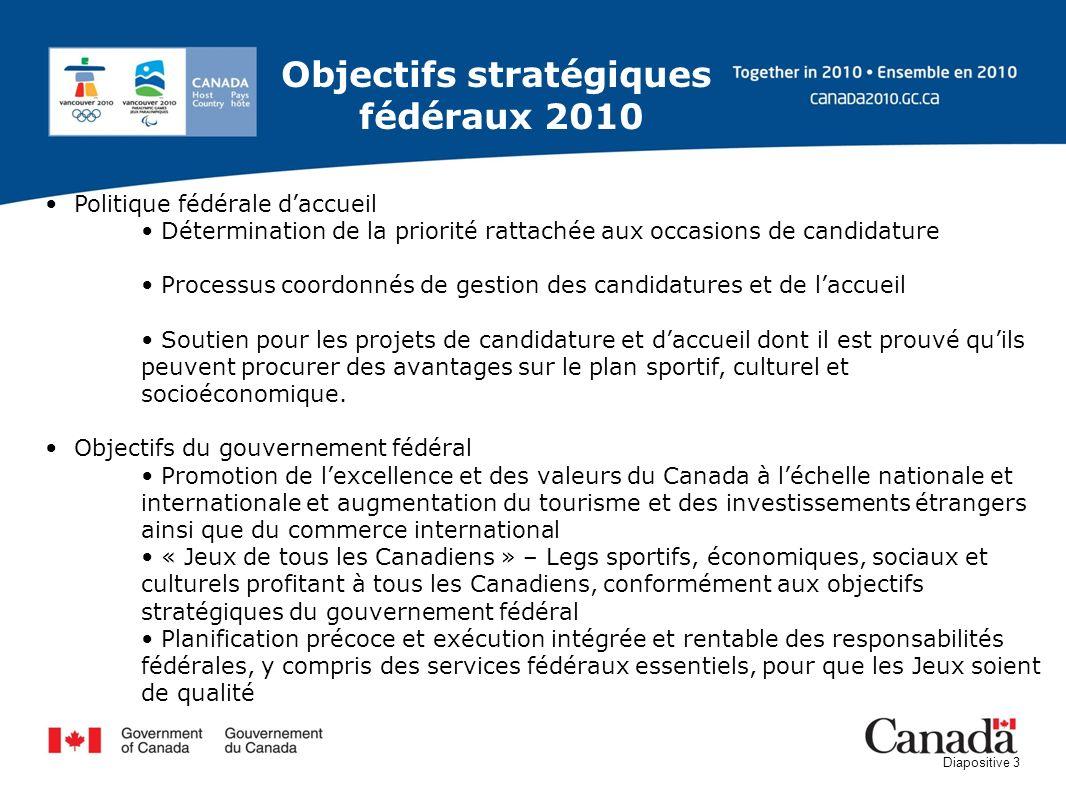 Diapositive 3 Politique fédérale daccueil Détermination de la priorité rattachée aux occasions de candidature Processus coordonnés de gestion des cand