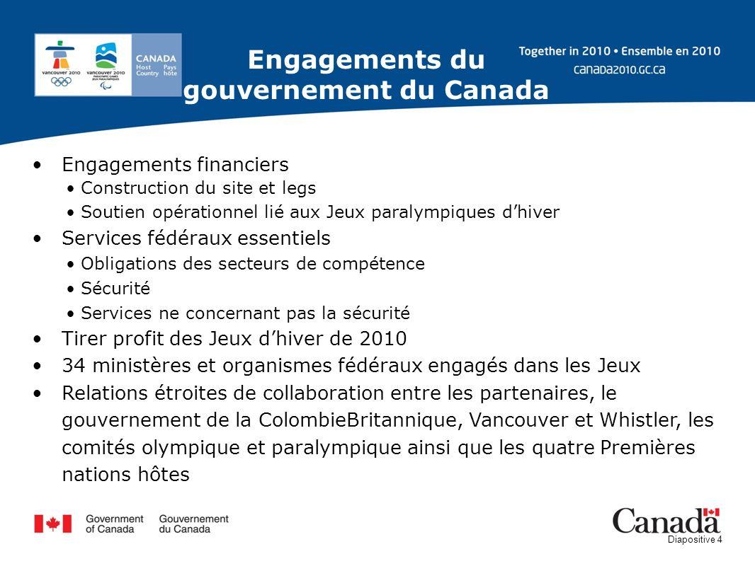 Diapositive 4 Engagements financiers Construction du site et legs Soutien opérationnel lié aux Jeux paralympiques dhiver Services fédéraux essentiels