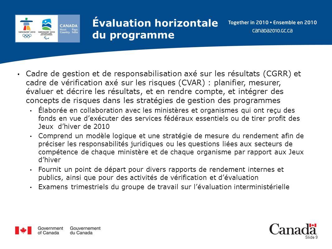 Slide 9 Évaluation horizontale du programme Cadre de gestion et de responsabilisation axé sur les résultats (CGRR) et cadre de vérification axé sur le