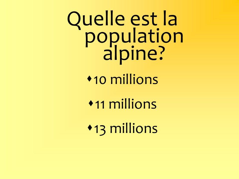 Quelle est la population alpine? 10 millions 11 millions 13 millions