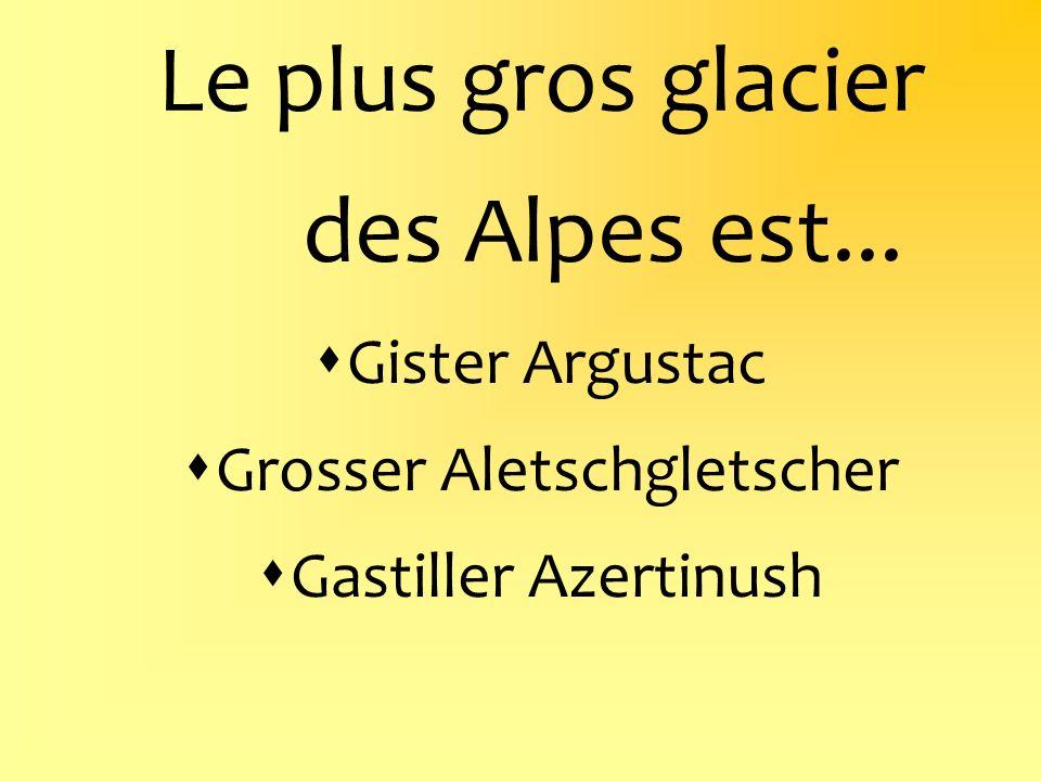 Le plus gros glacier des Alpes est... Gister Argustac Grosser Aletschgletscher Gastiller Azertinush