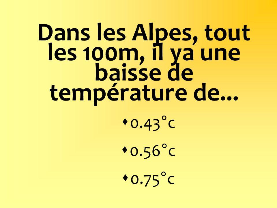 Dans les Alpes, tout les 100m, il ya une baisse de température de... 0.43°c 0.56°c 0.75°c