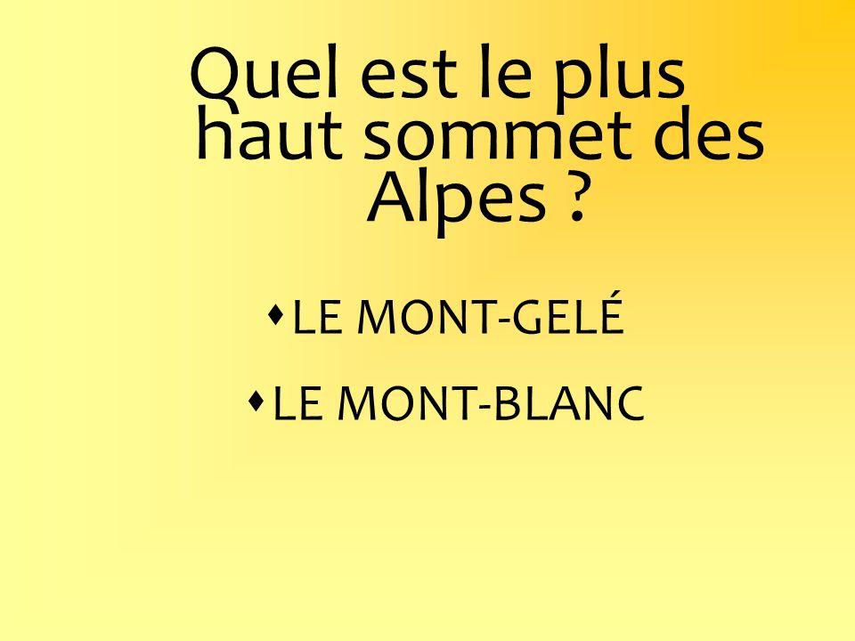 Quel est le plus haut sommet des Alpes ? LE MONT-GELÉ LE MONT-BLANC