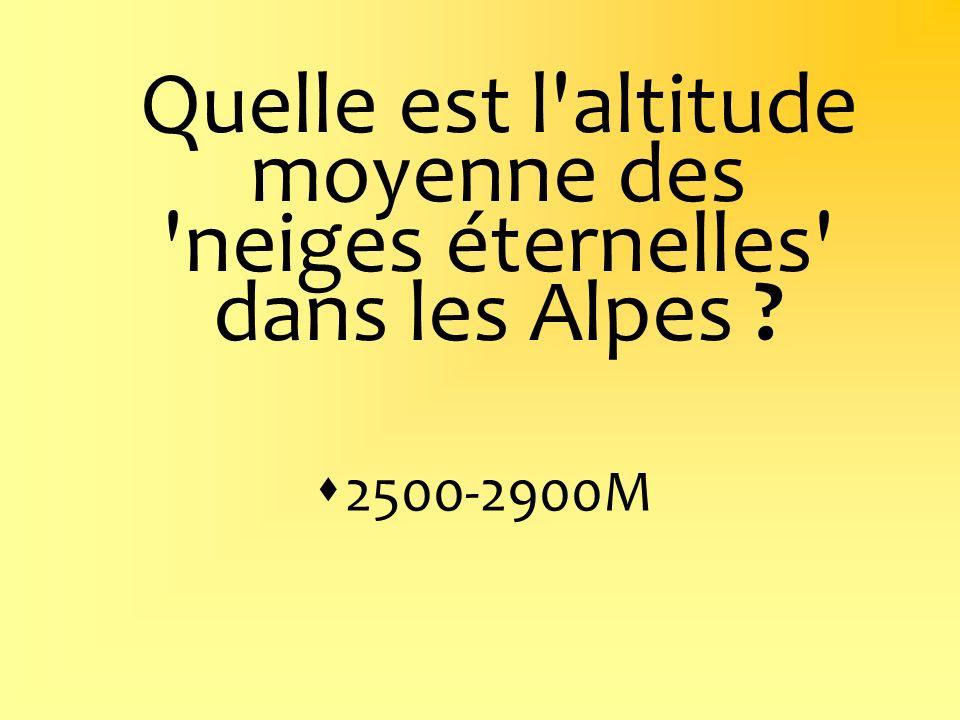 Quelle est l'altitude moyenne des 'neiges éternelles' dans les Alpes ? 2500-2900M