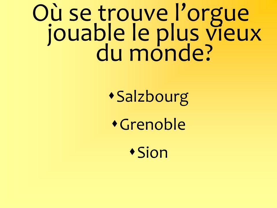 Où se trouve lorgue jouable le plus vieux du monde? Salzbourg Grenoble Sion