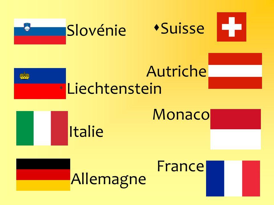 Suisse Monaco Slovénie Autriche France Italie Liechtenstein Allemagne