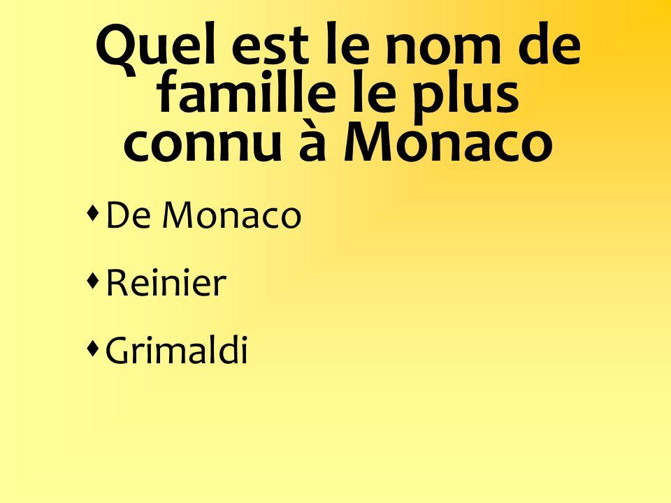 Quel est le nom de famille le plus connu à Monaco De Monaco Reinier Grimaldi