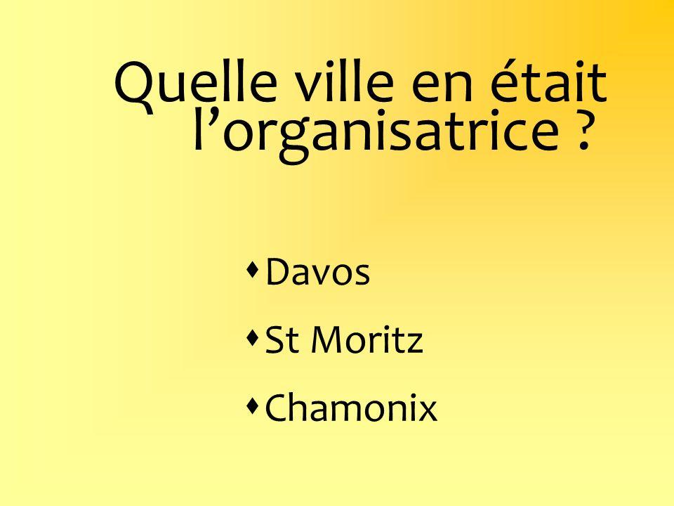 Quelle ville en était lorganisatrice ? Davos St Moritz Chamonix
