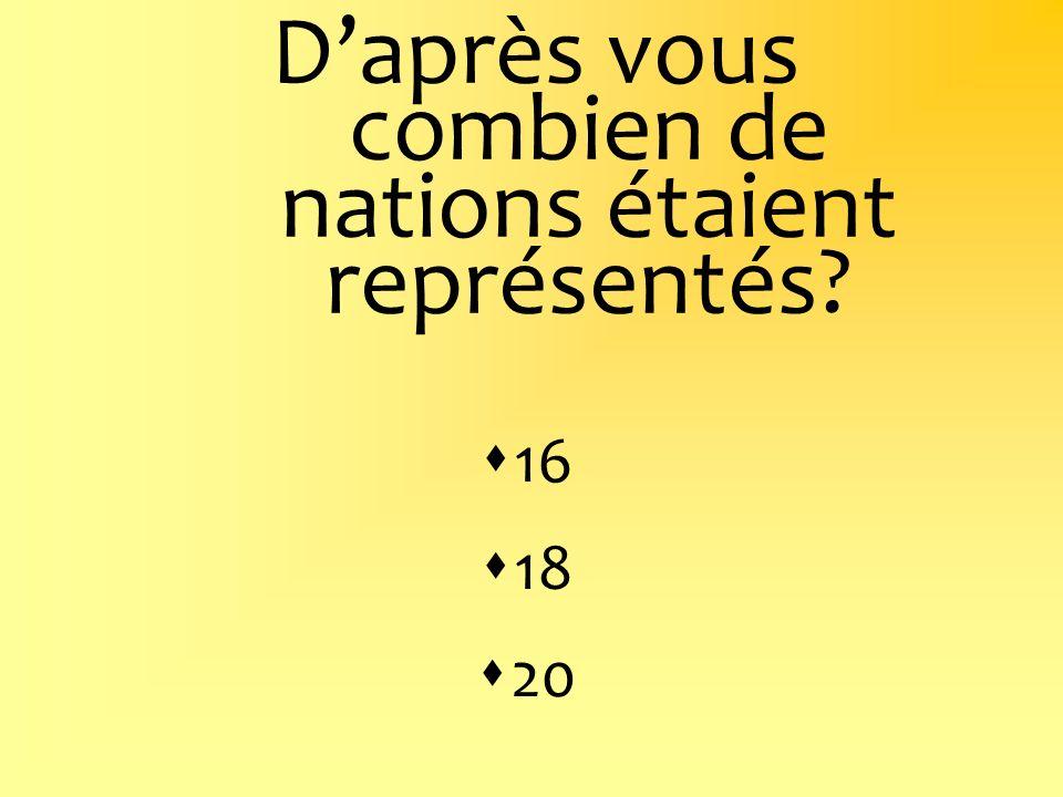 Daprès vous combien de nations étaient représentés? 16 18 20