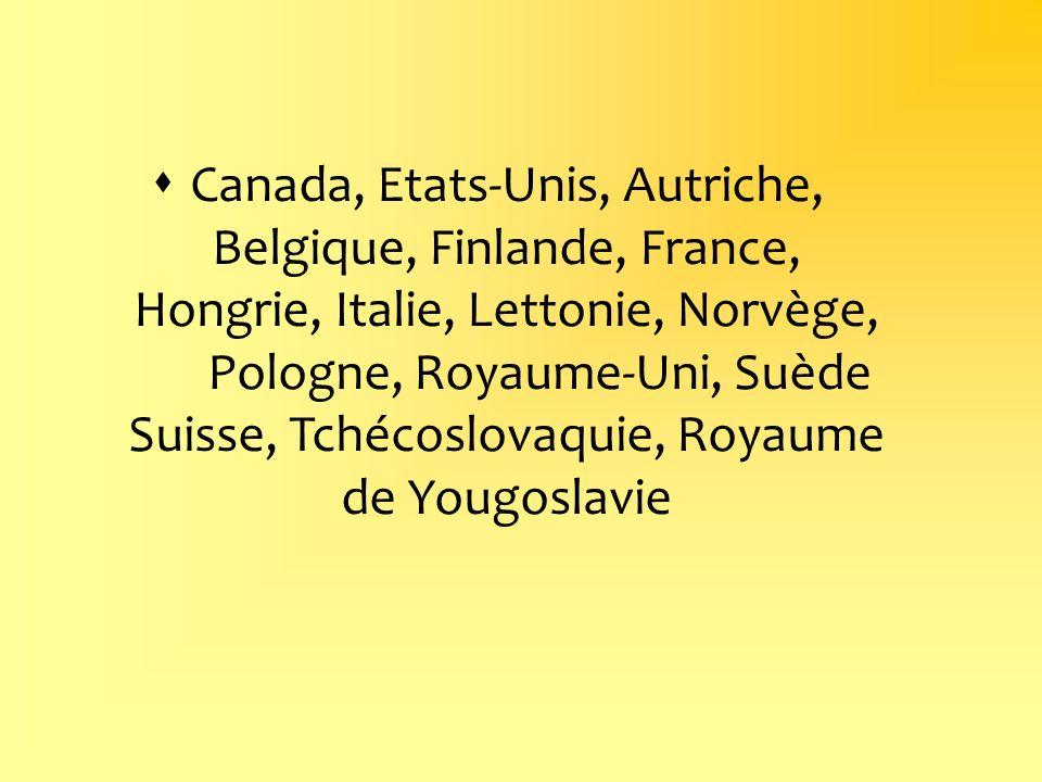 Canada, Etats-Unis, Autriche, Belgique, Finlande, France, Hongrie, Italie, Lettonie, Norvège, Pologne, Royaume-Uni, Suède Suisse, Tchécoslovaquie, Roy