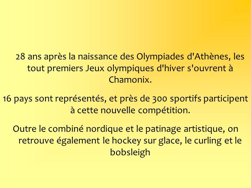 28 ans après la naissance des Olympiades d'Athènes, les tout premiers Jeux olympiques d'hiver s'ouvrent à Chamonix. 16 pays sont représentés, et près
