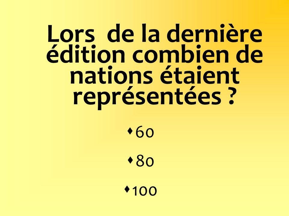 Lors de la dernière édition combien de nations étaient représentées ? 60 80 100