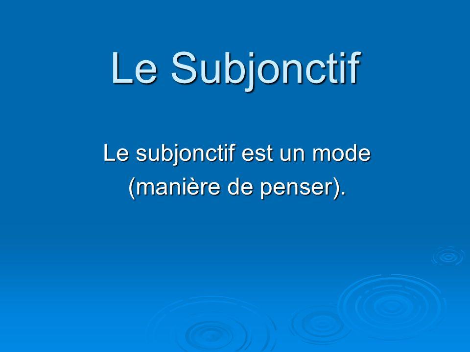 Le Subjonctif Le subjonctif est un mode (manière de penser).