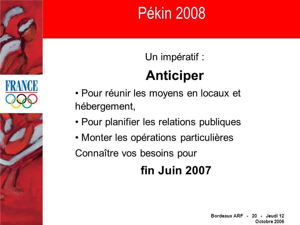 Bordeaux ARF - 20 - Jeudi 12 Octobre 2006 Pékin 2008 Un impératif : Anticiper Pour réunir les moyens en locaux et hébergement, Pour planifier les relations publiques Monter les opérations particulières Connaître vos besoins pour fin Juin 2007