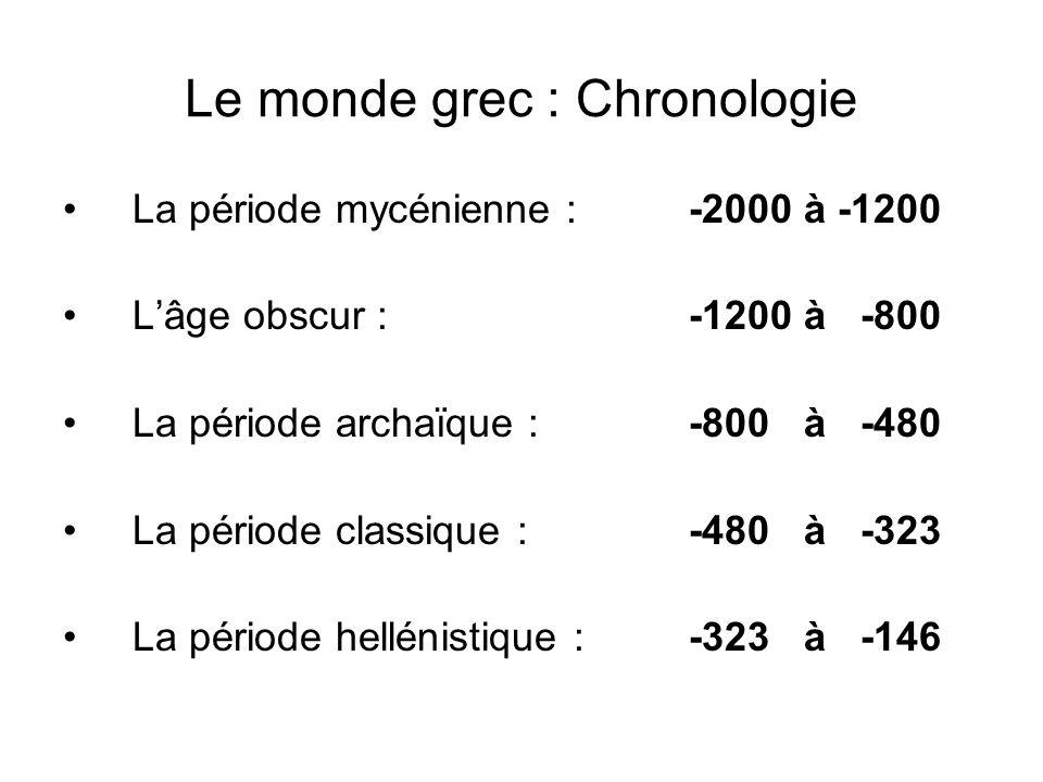 Le monde grec : Chronologie La période mycénienne : -2000 à -1200 Lâge obscur :-1200 à -800 La période archaïque : -800 à -480 La période classique :