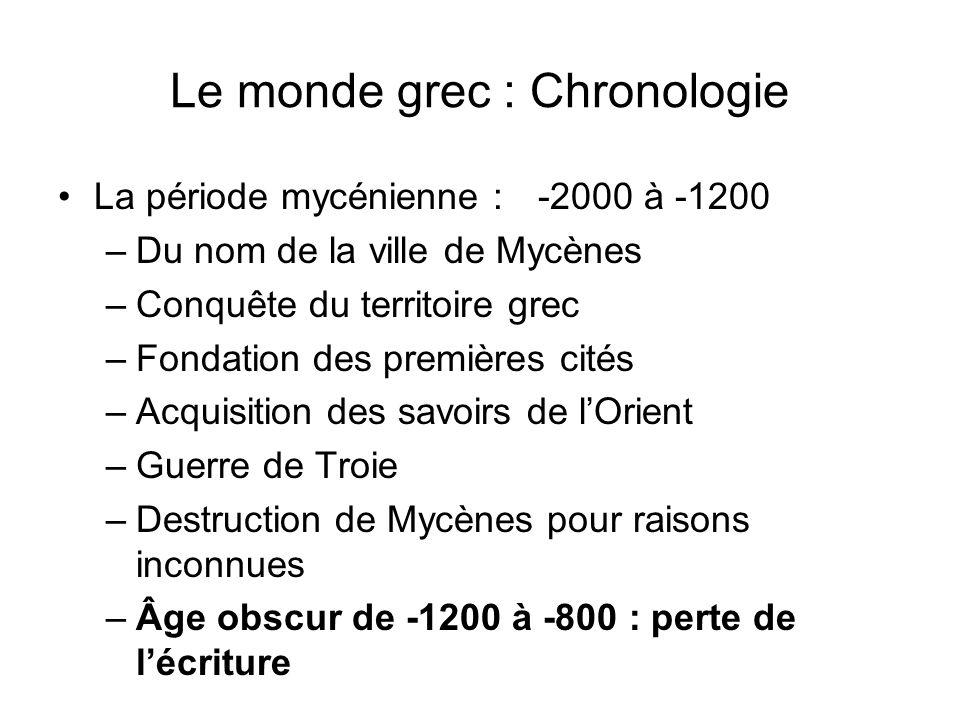 Le monde grec : Chronologie La période mycénienne : -2000 à -1200 –Du nom de la ville de Mycènes –Conquête du territoire grec –Fondation des premières
