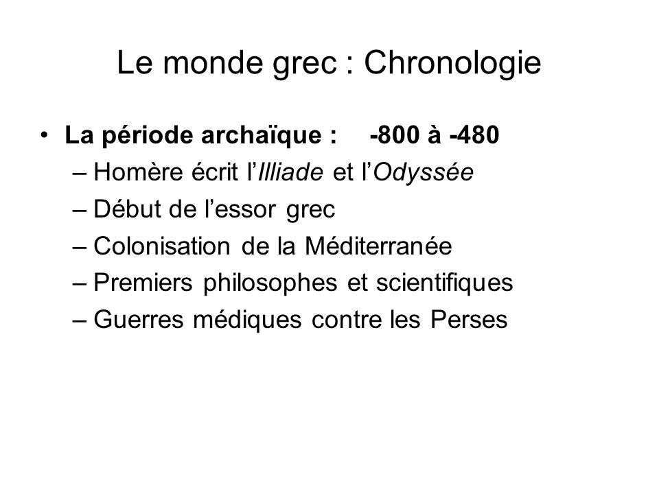 Le monde grec : Chronologie La période archaïque : -800 à -480 –Homère écrit lIlliade et lOdyssée –Début de lessor grec –Colonisation de la Méditerran