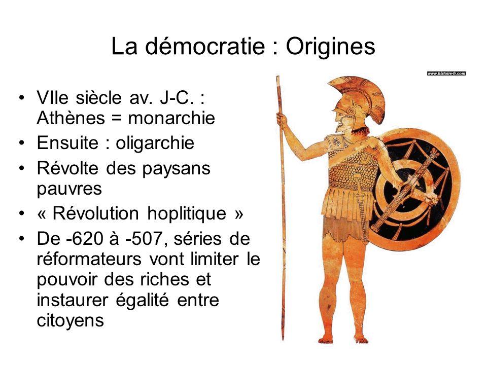 La démocratie : Origines VIIe siècle av. J-C. : Athènes = monarchie Ensuite : oligarchie Révolte des paysans pauvres « Révolution hoplitique » De -620