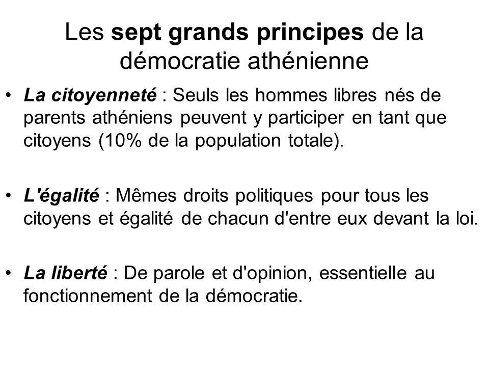 Les sept grands principes de la démocratie athénienne La citoyenneté : Seuls les hommes libres nés de parents athéniens peuvent y participer en tant q