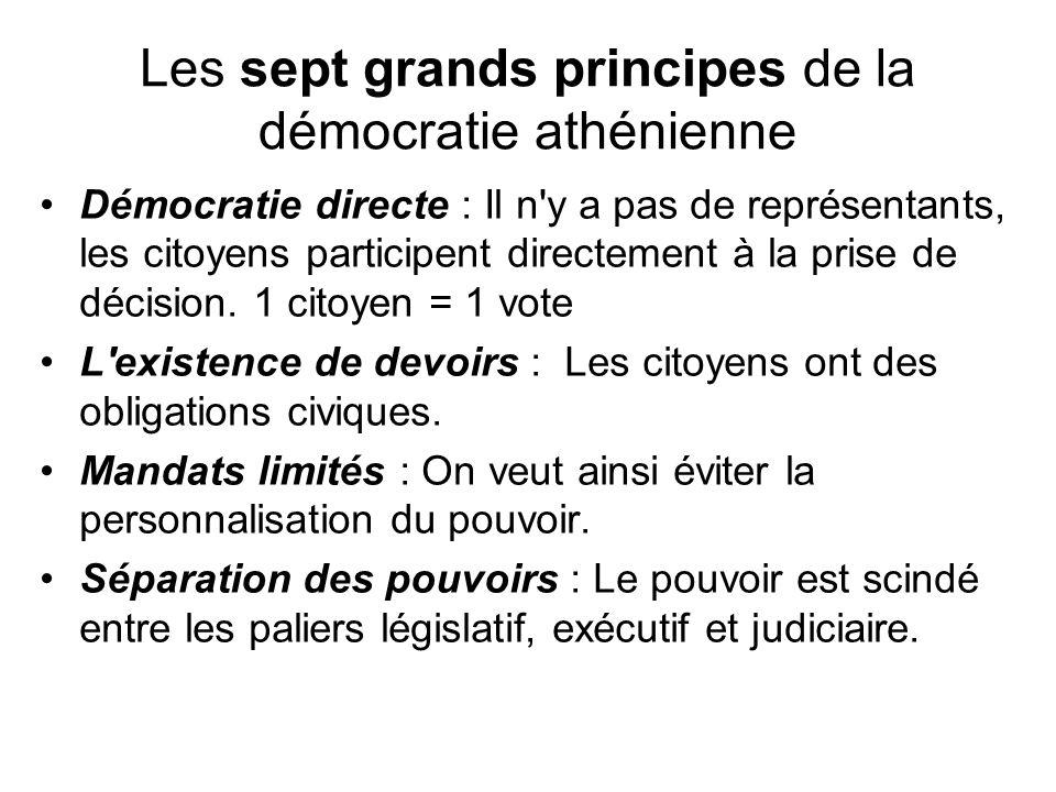 Les sept grands principes de la démocratie athénienne Démocratie directe : Il n'y a pas de représentants, les citoyens participent directement à la pr