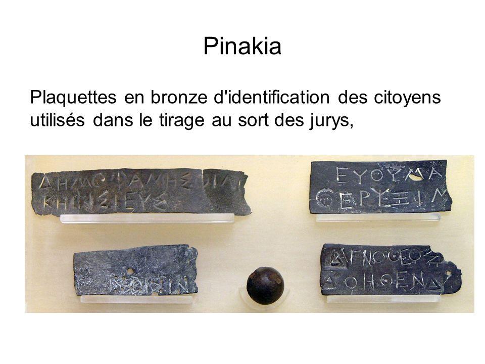 Pinakia Plaquettes en bronze d'identification des citoyens utilisés dans le tirage au sort des jurys,