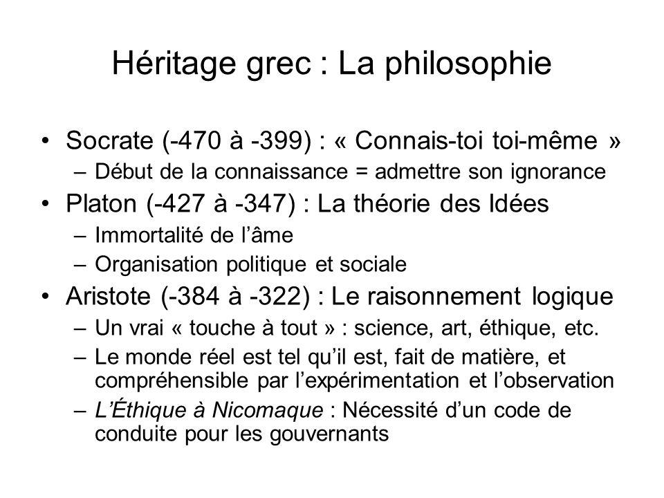 Héritage grec : La philosophie Socrate (-470 à -399) : « Connais-toi toi-même » –Début de la connaissance = admettre son ignorance Platon (-427 à -347
