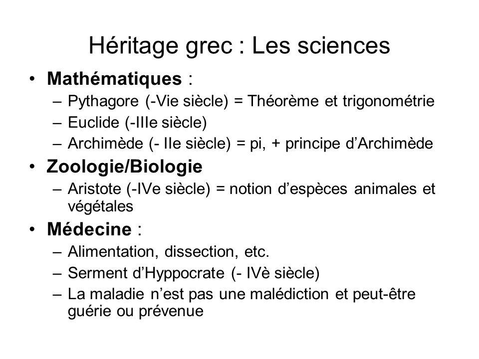 Héritage grec : Les sciences Mathématiques : –Pythagore (-Vie siècle) = Théorème et trigonométrie –Euclide (-IIIe siècle) –Archimède (- IIe siècle) =