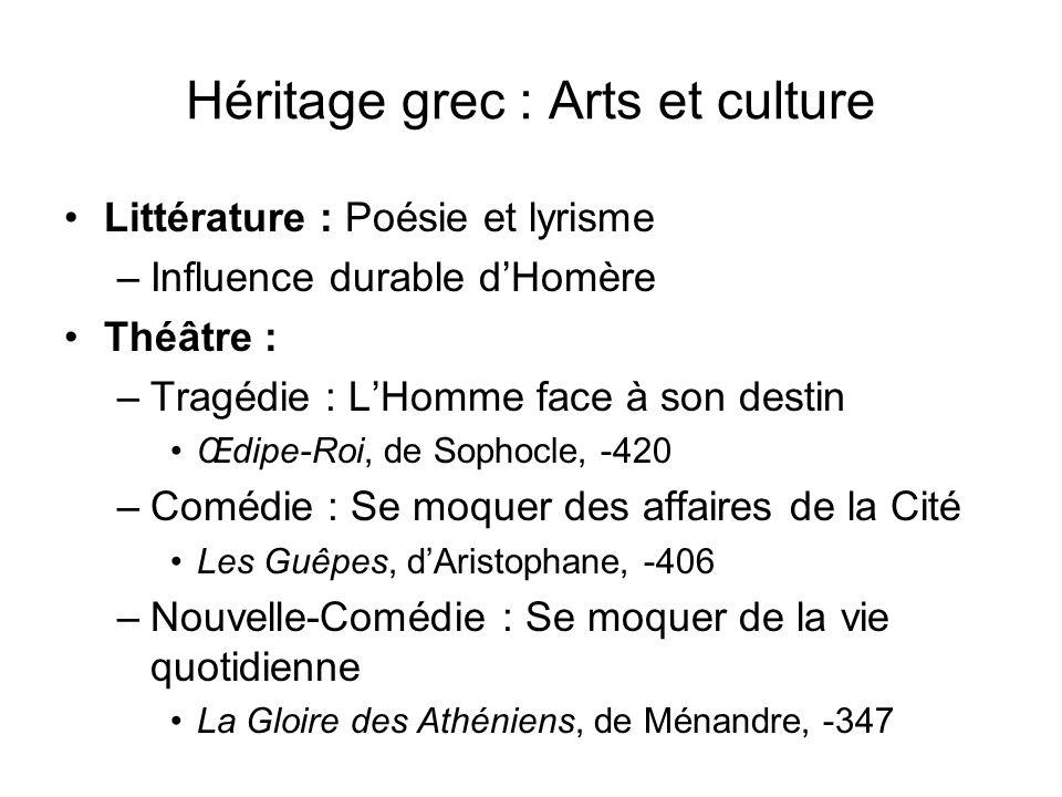 Héritage grec : Arts et culture Littérature : Poésie et lyrisme –Influence durable dHomère Théâtre : –Tragédie : LHomme face à son destin Œdipe-Roi, d