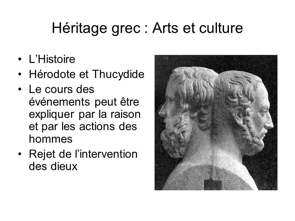 Héritage grec : Arts et culture Sculpture et architecture : –Échelle humaine, contrairement aux Égyptiens et aux Mésopotamiens Recherche déquilibre et dharmonie Beauté de lhomme