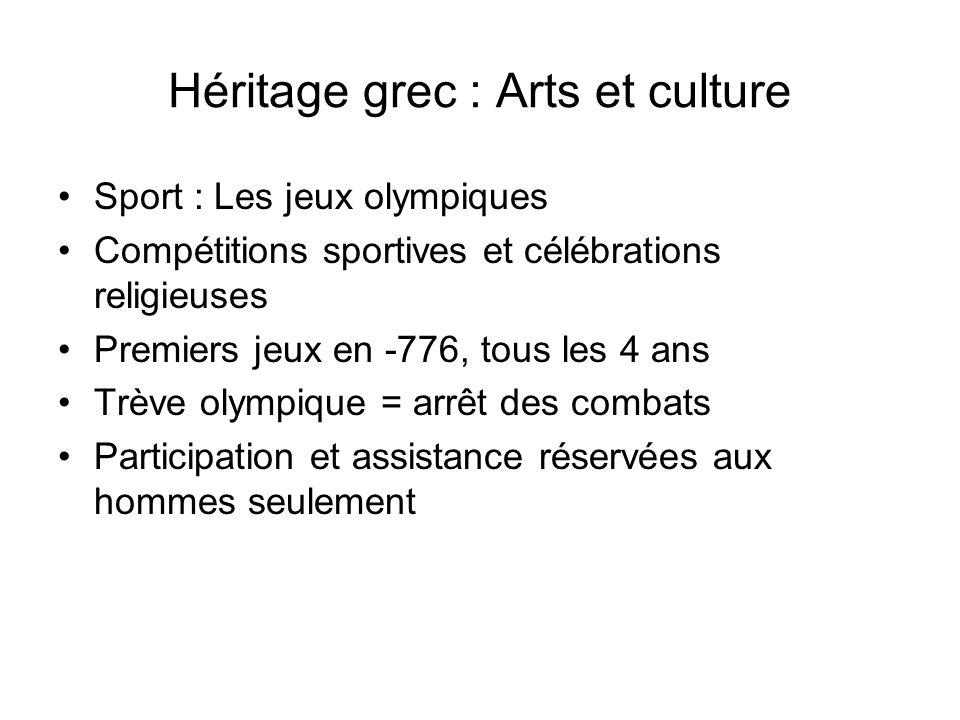 Héritage grec : Arts et culture Sport : Les jeux olympiques Compétitions sportives et célébrations religieuses Premiers jeux en -776, tous les 4 ans T