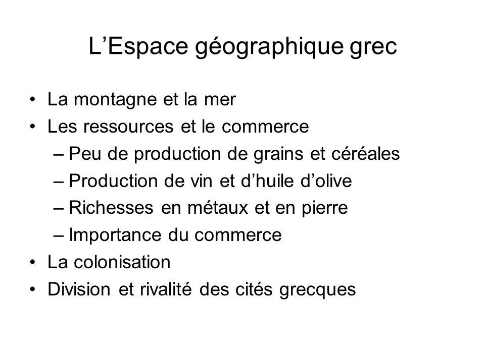 LEspace géographique grec La montagne et la mer Les ressources et le commerce –Peu de production de grains et céréales –Production de vin et dhuile do