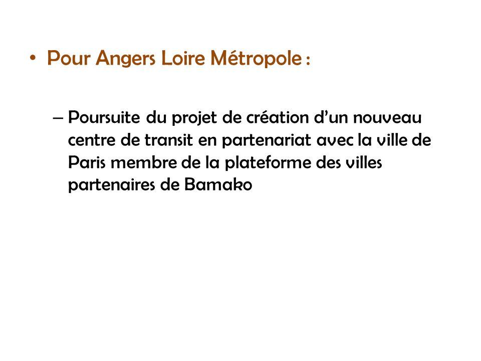 Pour Angers Loire Métropole : – Poursuite du projet de création dun nouveau centre de transit en partenariat avec la ville de Paris membre de la plate