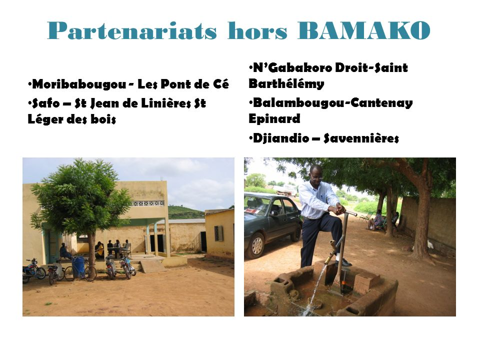 Partenariats hors BAMAKO Moribabougou - Les Pont de Cé Safo – St Jean de Linières St Léger des bois NGabakoro Droit-Saint Barthélémy Balambougou-Cante