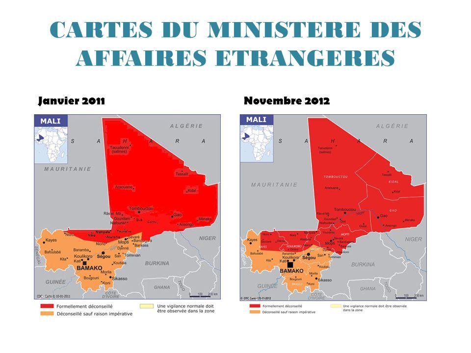 CARTES DU MINISTERE DES AFFAIRES ETRANGERES Janvier 2011Novembre 2012
