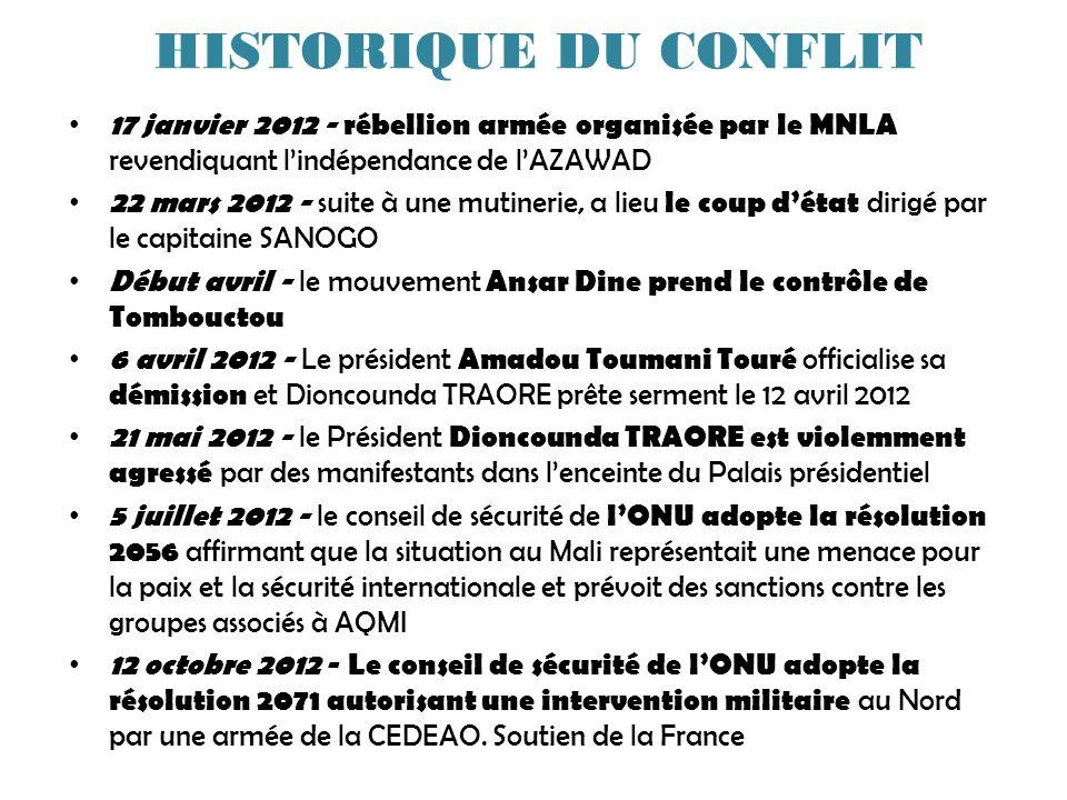 HISTORIQUE DU CONFLIT 17 janvier 2012 - rébellion armée organisée par le MNLA revendiquant lindépendance de lAZAWAD 22 mars 2012 - suite à une mutinerie, a lieu le coup détat dirigé par le capitaine SANOGO Début avril - le mouvement Ansar Dine prend le contrôle de Tombouctou 6 avril 2012 - Le président Amadou Toumani Touré officialise sa démission et Dioncounda TRAORE prête serment le 12 avril 2012 21 mai 2012 - le Président Dioncounda TRAORE est violemment agressé par des manifestants dans lenceinte du Palais présidentiel 5 juillet 2012 - le conseil de sécurité de lONU adopte la résolution 2056 affirmant que la situation au Mali représentait une menace pour la paix et la sécurité internationale et prévoit des sanctions contre les groupes associés à AQMI 12 octobre 2012 - Le conseil de sécurité de lONU adopte la résolution 2071 autorisant une intervention militaire au Nord par une armée de la CEDEAO.