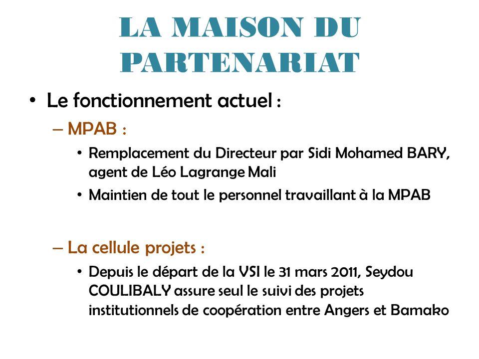 LA MAISON DU PARTENARIAT Le fonctionnement actuel : – MPAB : Remplacement du Directeur par Sidi Mohamed BARY, agent de Léo Lagrange Mali Maintien de t