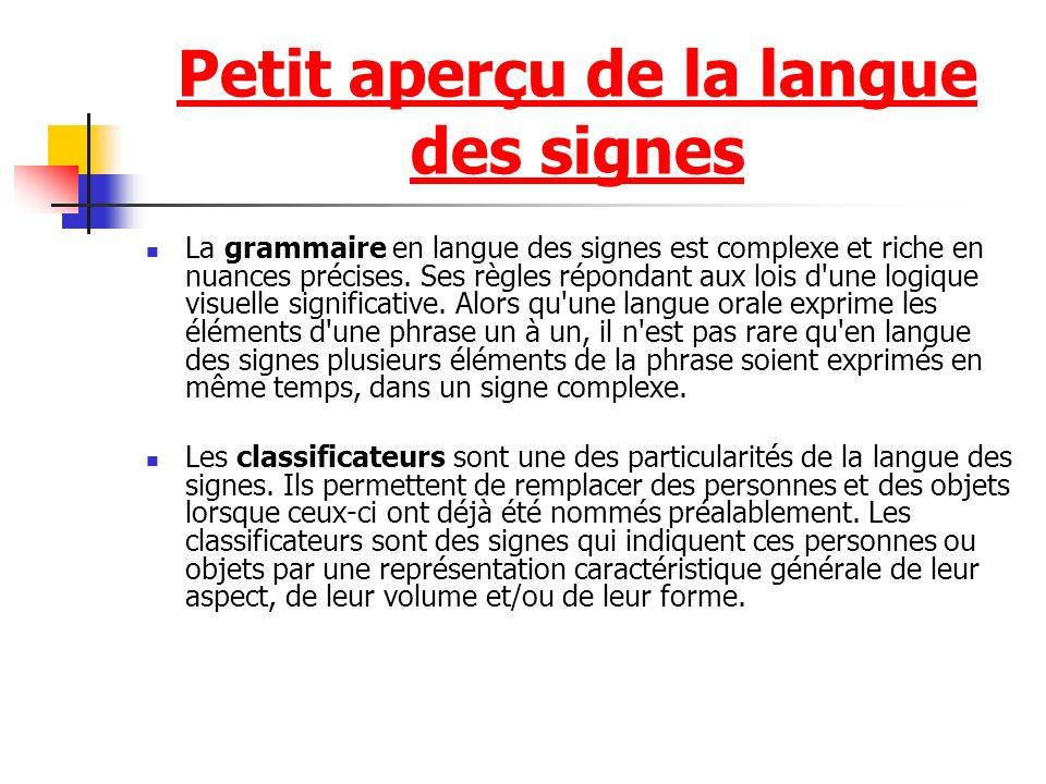 Petit aperçu de la langue des signes La grammaire en langue des signes est complexe et riche en nuances précises. Ses règles répondant aux lois d'une