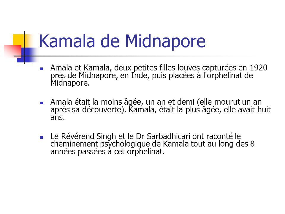 Kamala de Midnapore Amala et Kamala, deux petites filles louves capturées en 1920 près de Midnapore, en Inde, puis placées à l'orphelinat de Midnapore