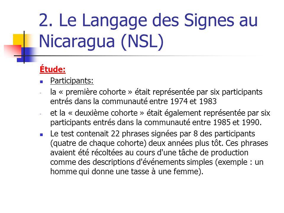 2. Le Langage des Signes au Nicaragua (NSL) Étude: Participants: - la « première cohorte » était représentée par six participants entrés dans la commu
