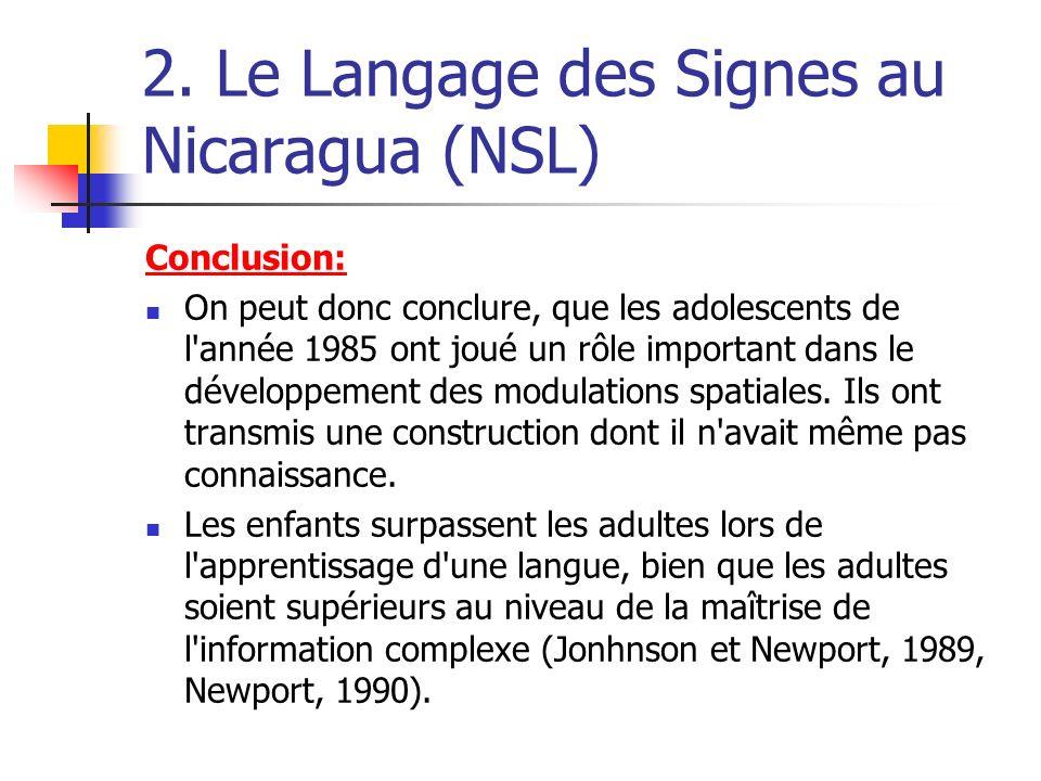 2. Le Langage des Signes au Nicaragua (NSL) Conclusion: On peut donc conclure, que les adolescents de l'année 1985 ont joué un rôle important dans le