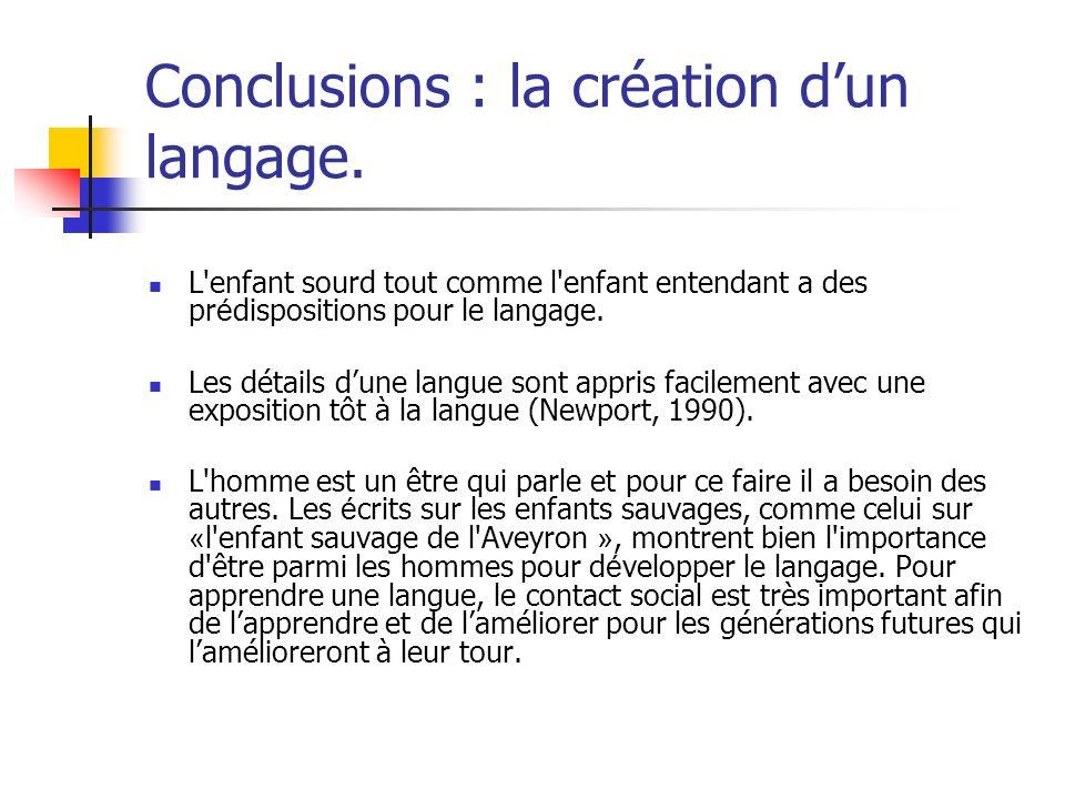 Conclusions : la création dun langage. L'enfant sourd tout comme l'enfant entendant a des pr é dispositions pour le langage. Les détails dune langue s