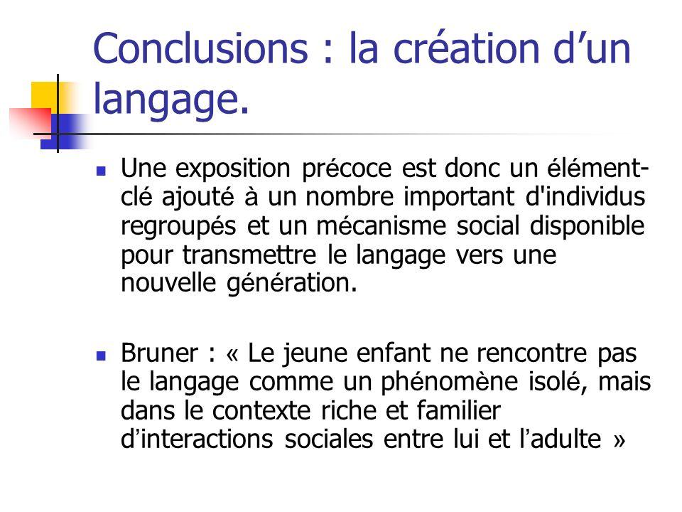 Conclusions : la création dun langage. Une exposition pr é coce est donc un é l é ment- cl é ajout é à un nombre important d'individus regroup é s et